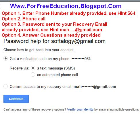 Procedure of recovering gmail account password