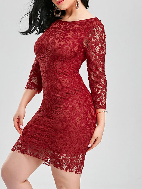 Slash Collar Cut Out Backless Lace Dress