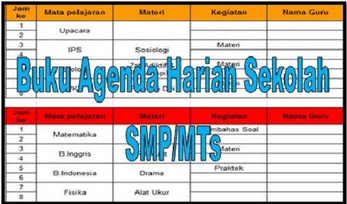 Download Buku Agenda Harian Sekolah SMP/MTs