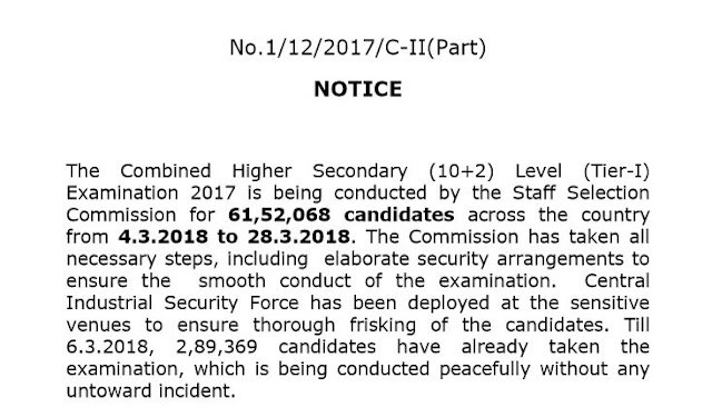 [Notice] Regarding Cheating and Security Arrangement in SSC CHSL 2017 Tier-1.-SSC Officer