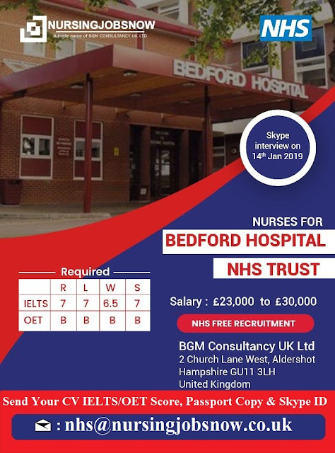 Free Recruitment to Bedford Hospital NHS Trust In UK - Interview on 14th January 2019