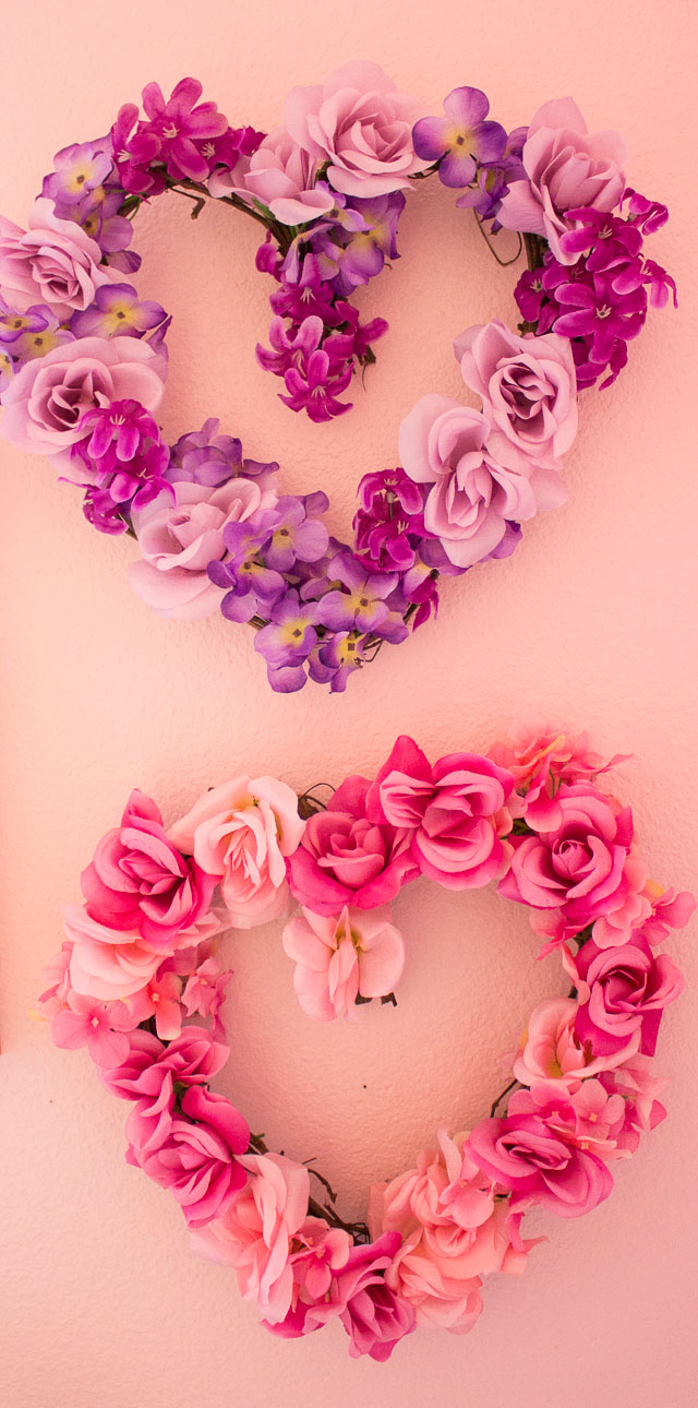 Valentines day decor diy floral hearts design improvised make these beautiful floral hearts from dollar store flowers httpwww izmirmasajfo Choice Image