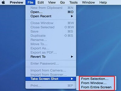 Take a screenshot on Mac using Preview