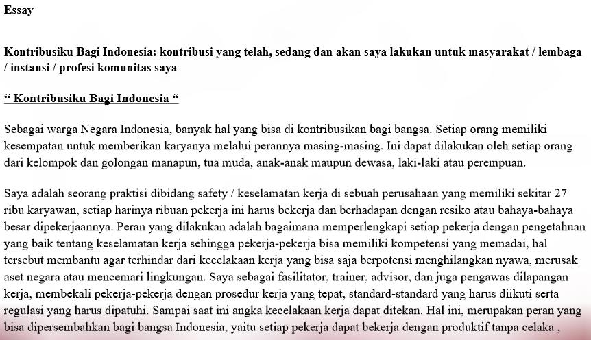 essay kontribusiku bagi indonesia lpdp