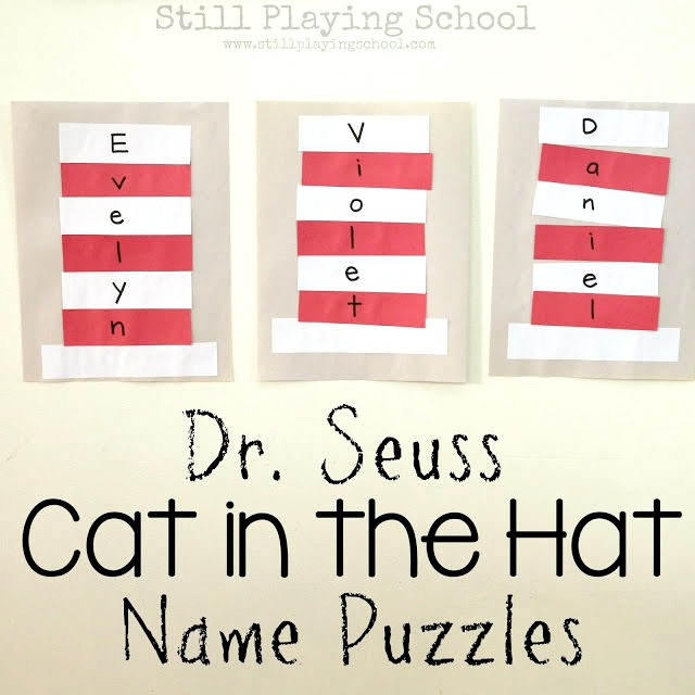 bb63f944 Dr. Seuss Cat in the Hat Name Puzzle Craft   Still Playing School