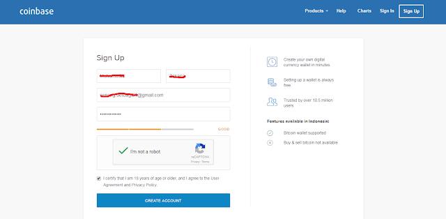 Cara melakukan pendaftaran di situs coinbase