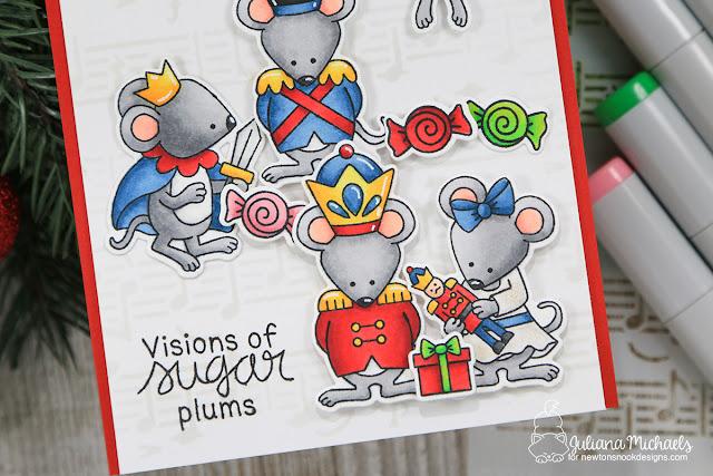Visions Of Sugarplums Card by Juliana Michaels featuring Newton's Nook Designs Nutcracker Squeak Stamp Set
