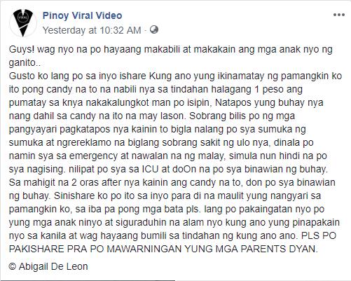 Isang Batang Babae, Namatay Dahil Sa Pagkain Ng Candy Na Palaging Kinakain Ng Mga Bata
