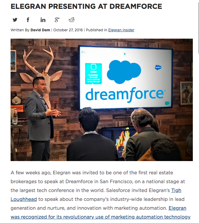 Tigh Loughhead on the Elegran Blog about presenting at Dreamforce 2016