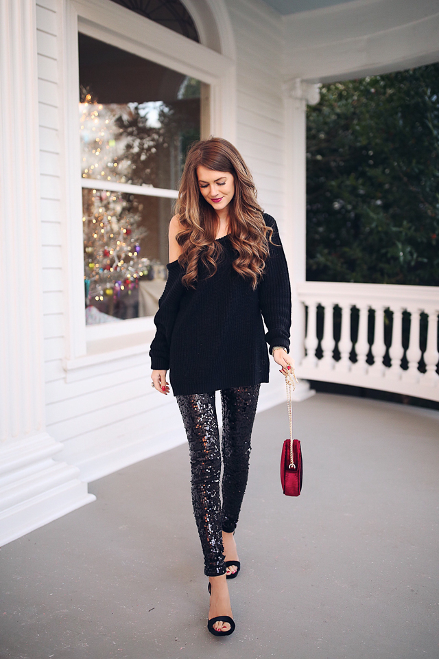 Southern Curls u0026 Pearls Sequin Leggings Holiday Outfit