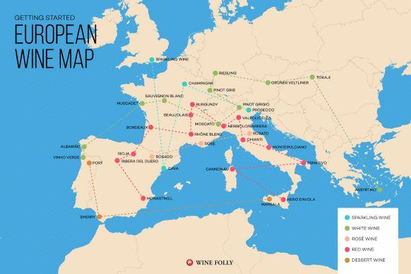Así es el mapa de los grandes vinos europeos