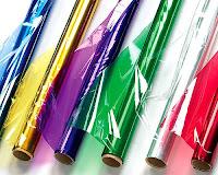 Renkli ve saydam selofan kağıt ruloları