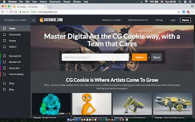 CG Cookie adalah situs penyedia Blender 3D, dengan tampilan yang menarik