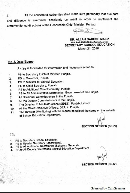 Transfer Policy 2018 for Teachers in Punjab by SED