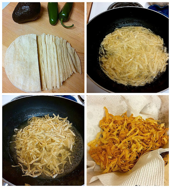 making fried tortilla strips