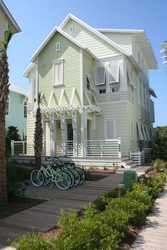 Coastal style mint slice Beach cottage house