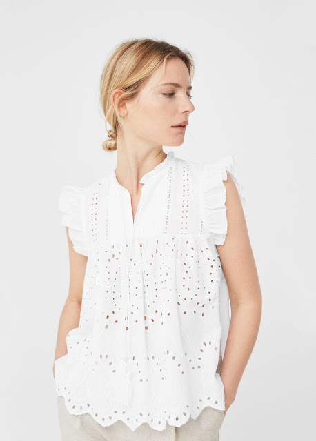 Mango Openwork Cotton Blouse