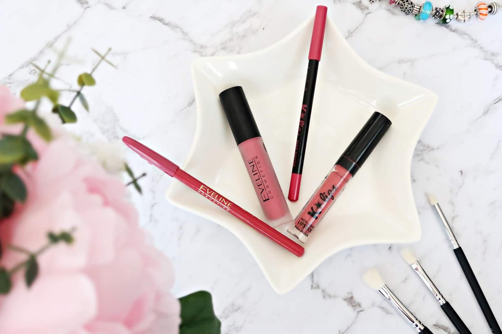 pomadki matowe w zestawie z konturówką Eveline Oh!my Lips Matt Kit 04 Sweet Lips i Lovely K'Lips Pink Poison Nr 2.