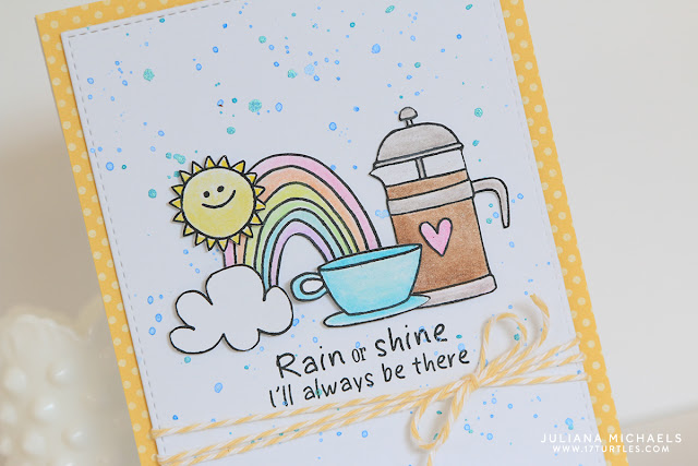 Rain or Shine Coffee Card by Juliana MIchaels featuring stamps by Jane's Doodles SRM Stickers
