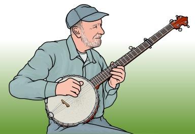 ロングネック・バンジョーを演奏するピート・シーガー Pete Seege