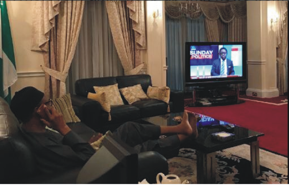 Nigerians Reacts To Shares Photo Of Buhari Watching Channels TV State - Hilarious