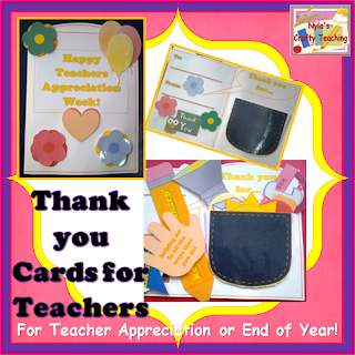 Thank you Cards for Teachers appreciation week