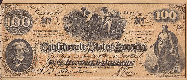 Американская стодолларовая банкнота с изображением рабов на плантации.