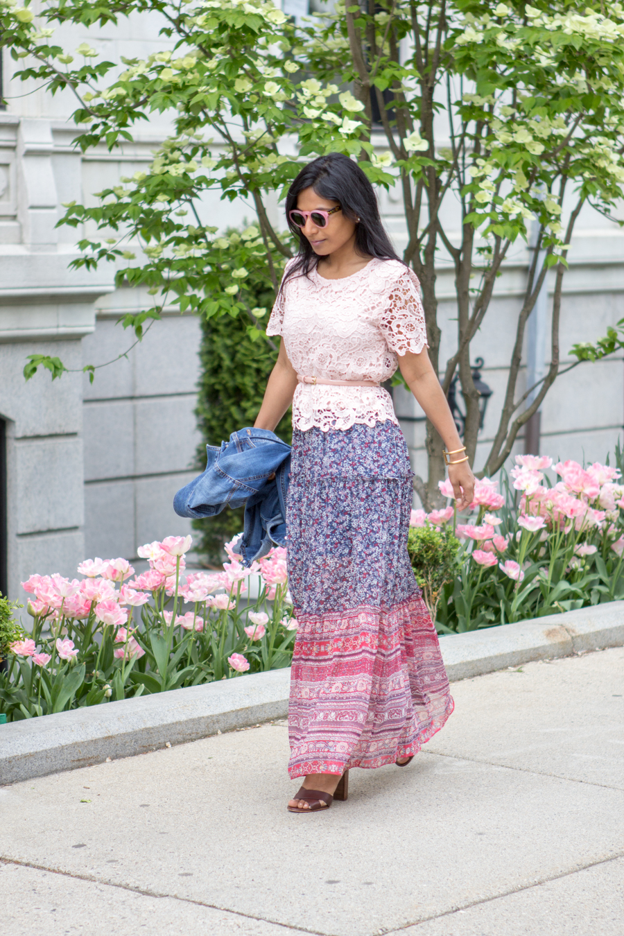 Boston, summer style, summer flowers, city walk, indian blogger, summer, summer style, maxi dress, memorial day outfit, lookbook, boho, blush top, blush belt, petite fashion, what to wear, how to, easy outfit, target style, ann taylor, street level, street style, style blog