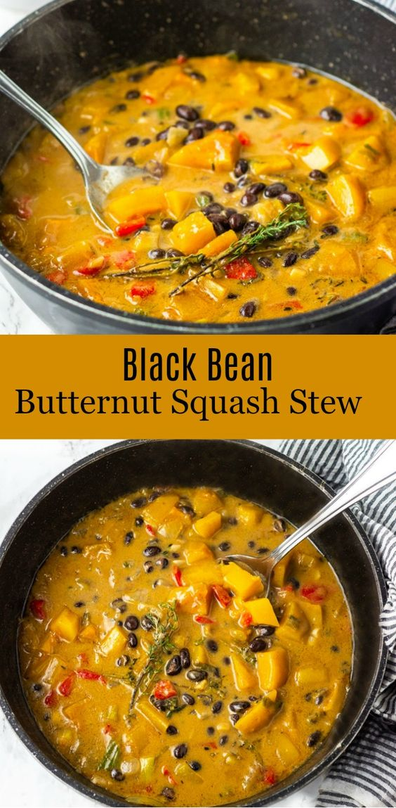 Black bean with sweet butternut squash and collard greens make this healthy stew so hearty and comforting! #vegan #black beans #butternutsquash #glutenfree