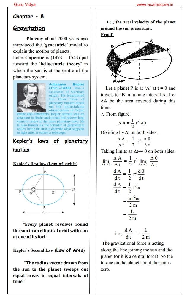Online learning Physics notes for class 11 Gravitation