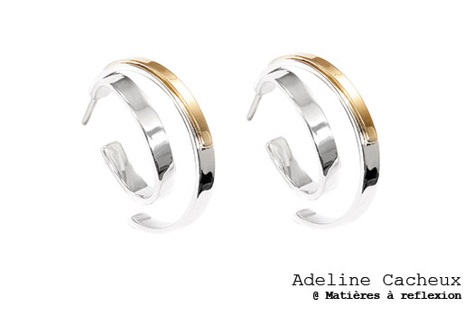 Adeline Cacheux boucles Pop Stripes or/argent