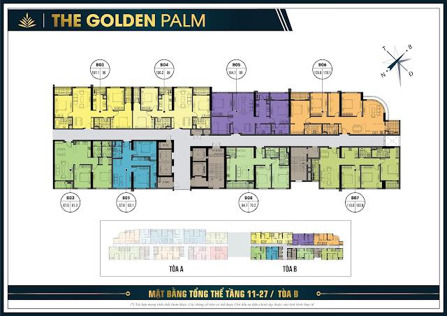 Mặt băng tổng thể tầng 11 - 27 tòa B chung cư The Golden Plam