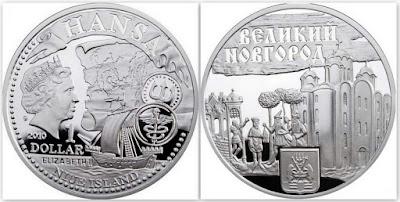 Монета Ниуэ: Великий Новгород - ганзейский город. 1 доллар. 2010 год.