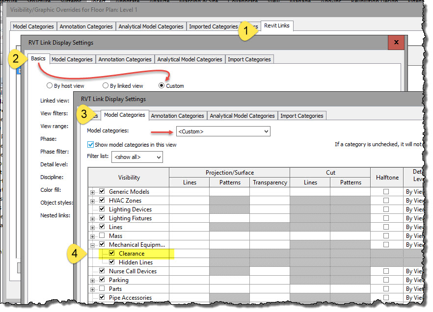 Revit OpEd: Clearance Subcategory in Linked Files and Families