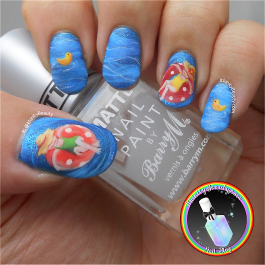 Summertime Swimming Pool & Rubber Ring Nail Art