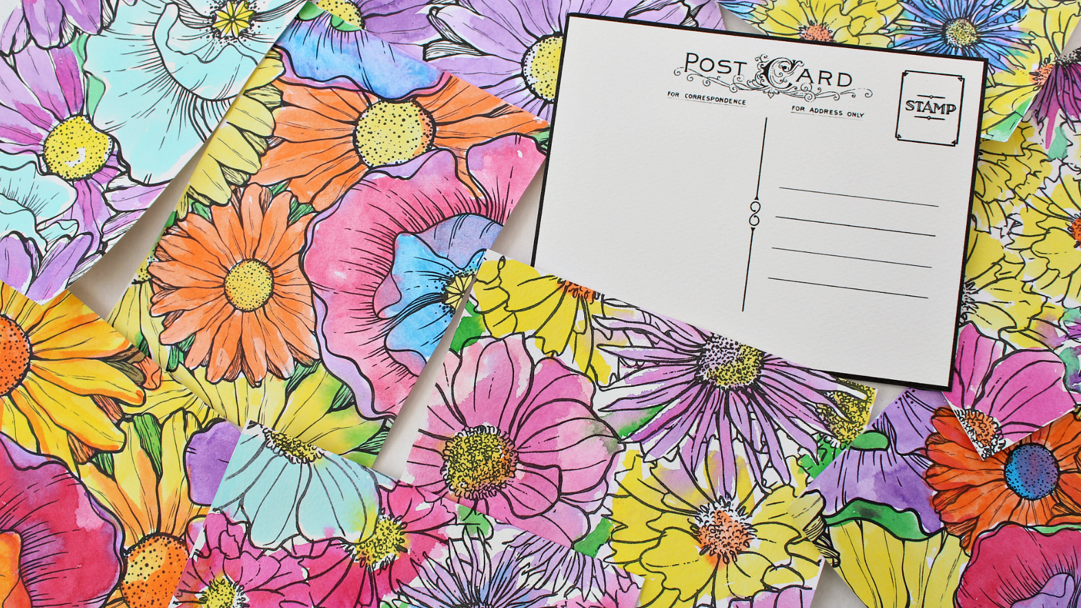 OPTIONAL You Can Print One Side Of The Watercolor Paper With My Postcard Template And Other Your Coloring Book Pattern