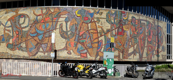 Old State Library Brisbane, Mosaic Mural 1958  by Lindsay Edwards. Photo by Kent Johnson.