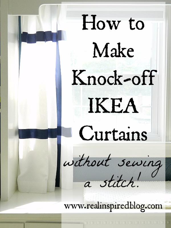 How to Make navy striped, No-Sew, Knock-Off Ikea Marmorblad Curtains diy no sew