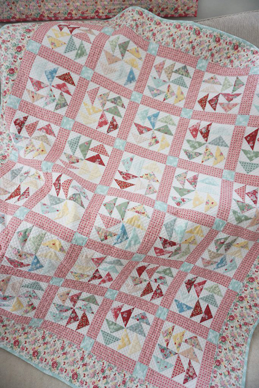 Woodland Rose Quilt Free Pattern designed by Jera Brandvig for Quilting in the Rain