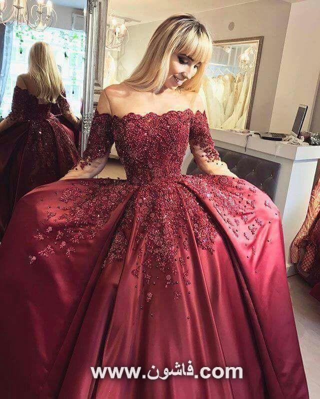 فستان سهرة باللون الاحمر مطرز لمحبى الاناقة والفخامة