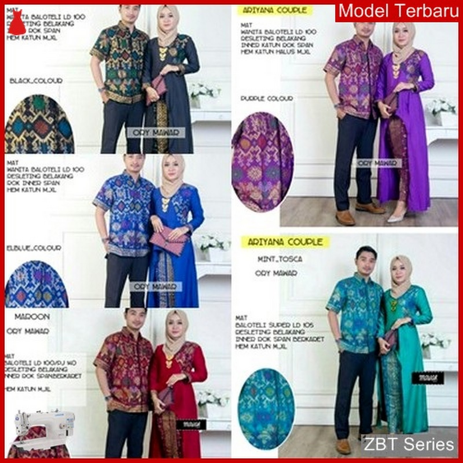 Zbt01209 Kebaya Batik Couple Sarimbit Set Ariyana Bmgshop Hem Baju Koko Ariyan 1