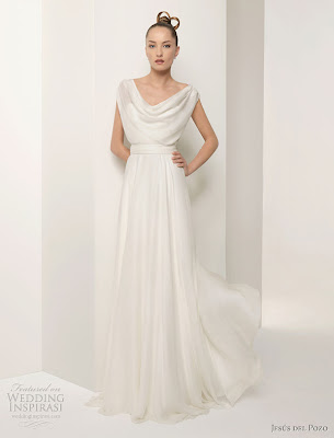 6505b014d5 Exotic Draped Neckline Wedding Dress
