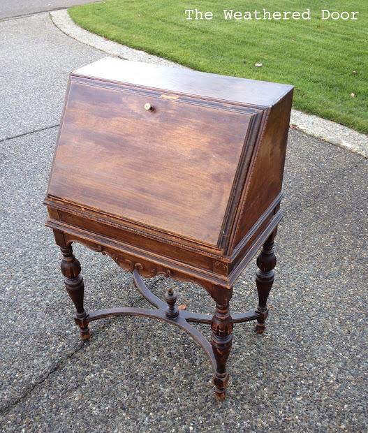 Antique Secretary Desk In Deep Teal - Weathered Door
