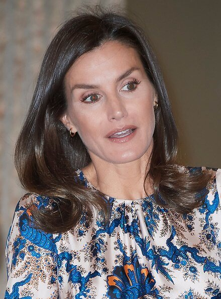 Queen Letizia wore Sandro all-over print long silk dress. Crown Princess Victoria wore Sandro all over print silk dress