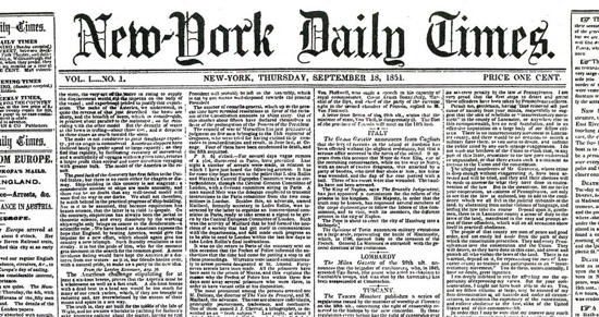 The New York Times, first issue - zoom