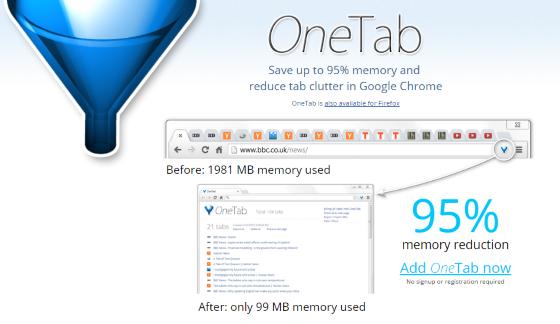 تقليل-استهلاك-المتصفح-للرام-اضافة-OneTab -متصفح-جوجل-كروم-فايرفوكس