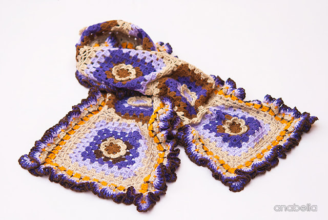 Ruffles crochet scarf by Anabelia Craft Design