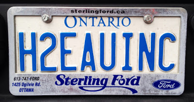 H2EAUINC Ontario personalized licence plate