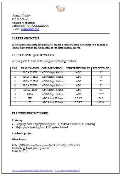 resume for mca fresher