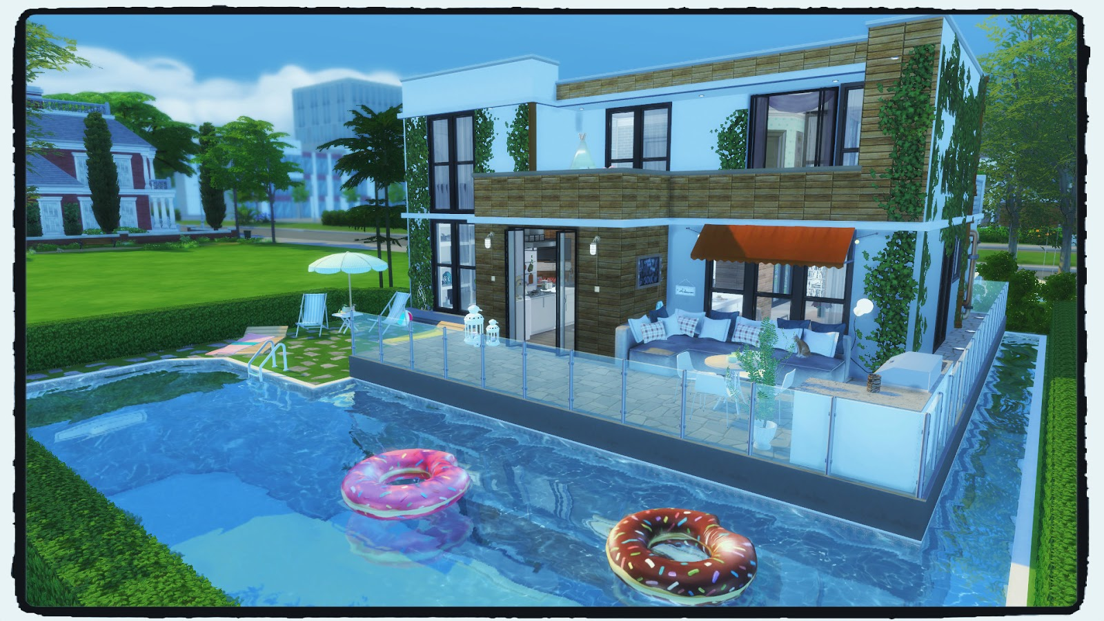 Sims 4 building on newcrest modern house with pool for Pool designs sims 4